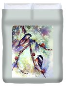 Chickadees On Twig Duvet Cover