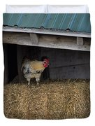 Chicken In Barn Duvet Cover