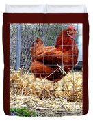 Chicken In The Straw Duvet Cover