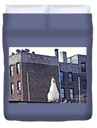 Chicken Little In Manhattan Duvet Cover