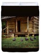 Chickens - Log House - Farm Duvet Cover