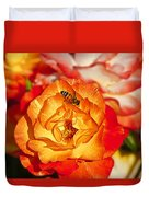 Chihuly Rose With Bee Duvet Cover