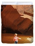 Child At Upper Emerald Pool-zion National Park Duvet Cover by PJ Boylan