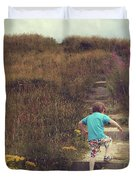Child On Stairs On Beach Duvet Cover