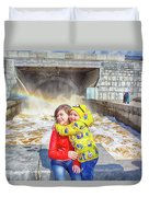 Children And A Rainbow Duvet Cover