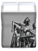 Children At Play Statue B W Duvet Cover