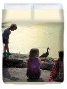 Children At The Pond 1 Duvet Cover