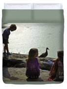 Children At The Pond 1 Version 2 Duvet Cover