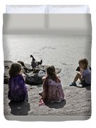 Children At The Pond 2 Duvet Cover