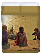 Children At The Pond 4 Duvet Cover