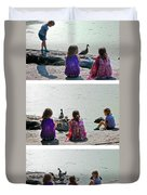 Children At The Pond Triptych Duvet Cover