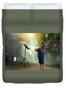 Children In Folk Costumes Playing Violin In Thailand Duvet Cover