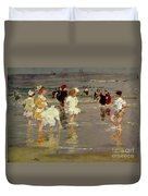 Children On The Beach Duvet Cover
