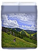 Children On Vail Mountain Duvet Cover