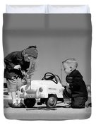 Children Play At Repairing Toy Car Duvet Cover