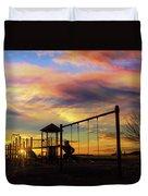 Children Playground At Sunset Duvet Cover