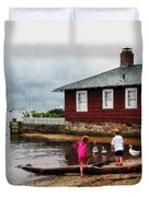 Children Playing At Harbor Essex Ct Duvet Cover