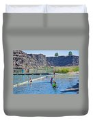 Children Playing In Dierkes Lake In Snake River Above Shoshone Falls Near Twin Falls-idaho  Duvet Cover