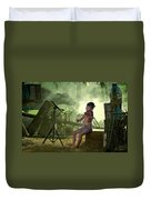 Children Playing Violin In The Folk Style. Duvet Cover