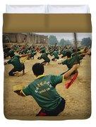 Children Practice Kung Fu In A Field Duvet Cover