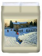 Children Sledging Duvet Cover