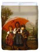 Children Under A Red Umbrella Duvet Cover