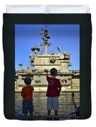 Children Wave As Uss Ronald Reagan Duvet Cover