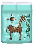 Childrens Nursery Art Original Giraffe Painting Playful By Madart Duvet Cover