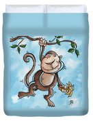 Childrens Whimsical Nursery Art Original Monkey Painting Monkey Buttons By Madart Duvet Cover