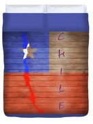 Chile Rustic Map On Wood Duvet Cover