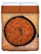 Chili In Black Pan On Wood Table With Jalapeno Pepper Duvet Cover