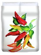 Chillies From My Garden Duvet Cover by Karin  Dawn Kelshall- Best