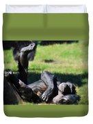 Chimp Sunbathing Duvet Cover