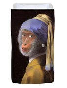 Chimp With A Pearl Earring Duvet Cover