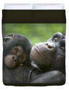 Chimpanzee Mother And Infant Duvet Cover