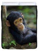 Chimpanzee Pan Troglodytes Baby Leaning Duvet Cover