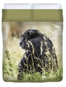 Chimpanzee Sitting In The Grass Duvet Cover
