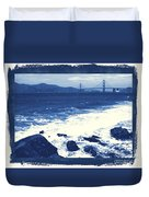China Beach And Golden Gate Bridge With Blue Tones Duvet Cover