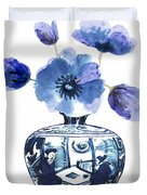 China Blue Vase  With Poppy Flower Duvet Cover