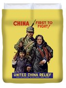 China - First To Fight - Ww2 Duvet Cover