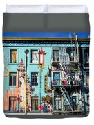 Chinatown Mural On Broadway Duvet Cover