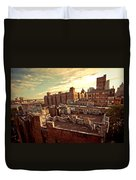 Chinatown Rooftop Graffiti And The Brooklyn Bridge - New York City Duvet Cover
