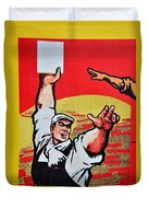 Chinese Communist Party Workers Proletariat Propaganda Poster Duvet Cover