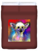 Chinese Crested Dog Puppy Painting Print Duvet Cover