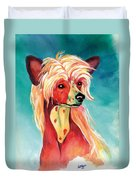 Chinese Crested Sunset Duvet Cover