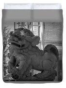 Chinese Guardian Female Lion B W Duvet Cover