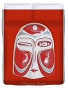 Chinese Porcelain Mask Red Duvet Cover