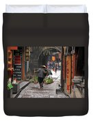 Chinese Woman Carrying Vegetables Duvet Cover