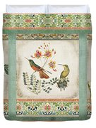Triptych - Chinoiserie Vintage Hummingbirds N Flowers Duvet Cover