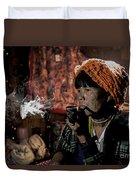 Cho Chin Woman Smoking  Duvet Cover